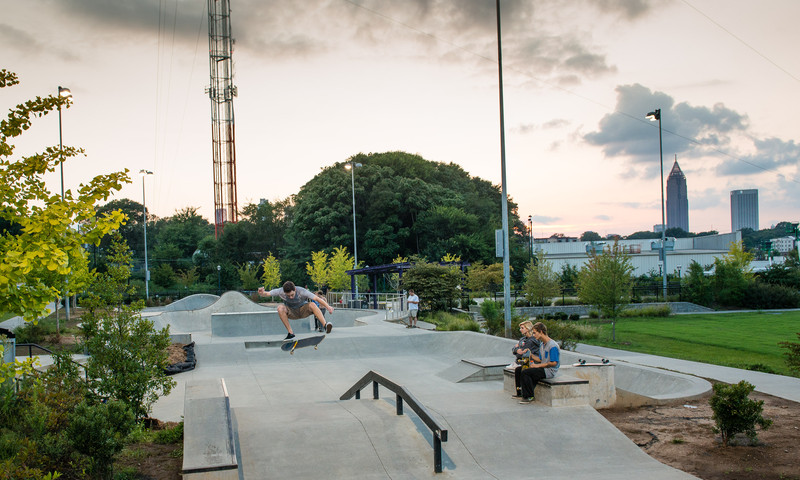 Skaters pop ollies at Old Fourth Ward Skate Park.