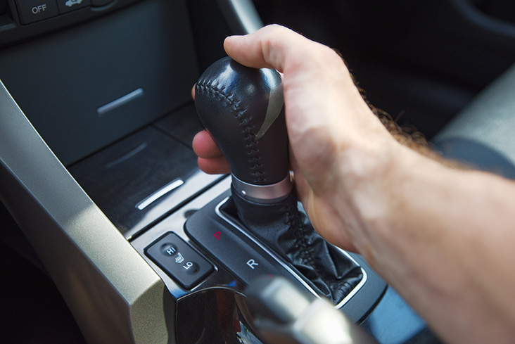 Hand on gearstick