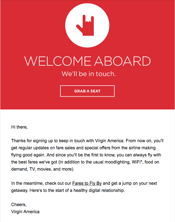 Virgin America welcome email