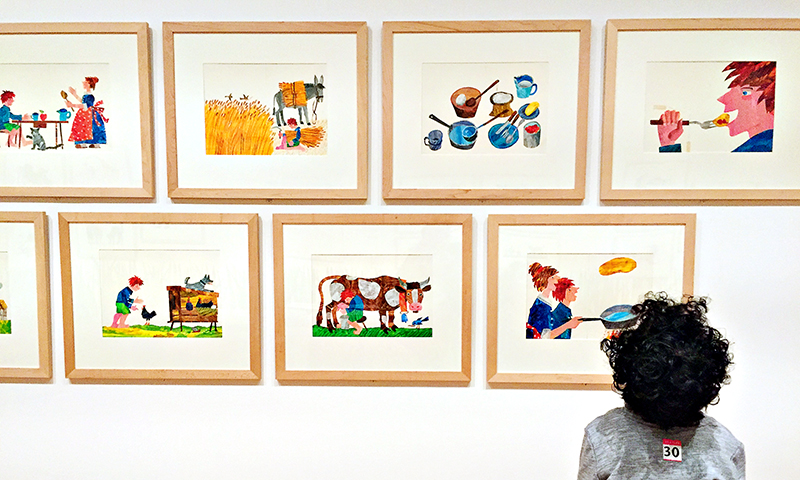 The High Museum placed Eric Carle exhibit at a low level so that even young kids can enjoy it.