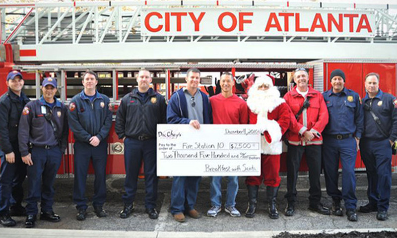 Santa helps raise money for fire stations when he visits  Doc Chey's Noodle House and at Osteria 832.
