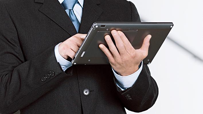 メインビジュアル : 社外でも社内情報に安全アクセス。モバイル活用の新営業スタイル