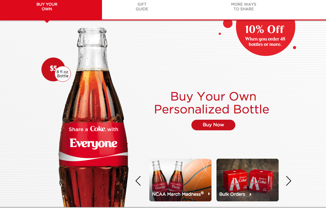 Personalized Coke Bottle User generated content