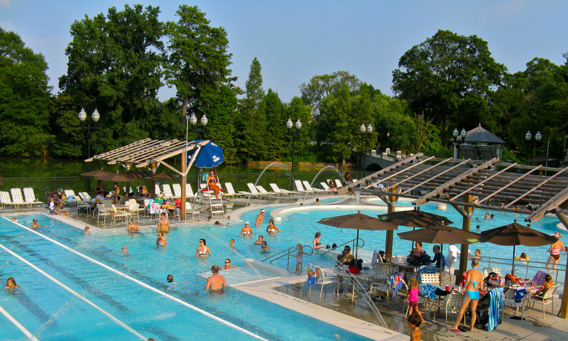 The Piedmont Park Aquatic Center is open all summer for cool family fun.