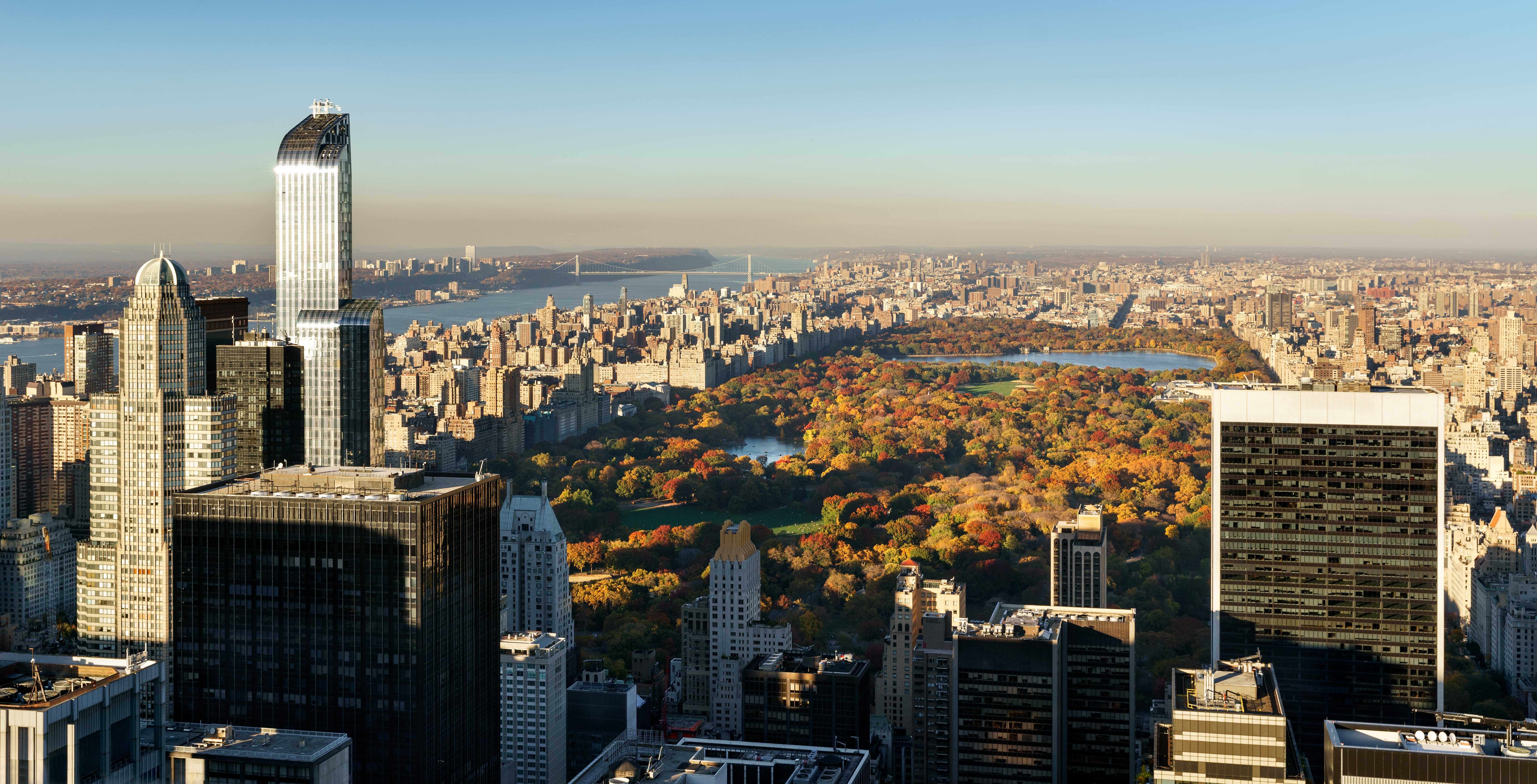 Aerial View, Central Park in Fall with Midtown skyscrapers, NYC