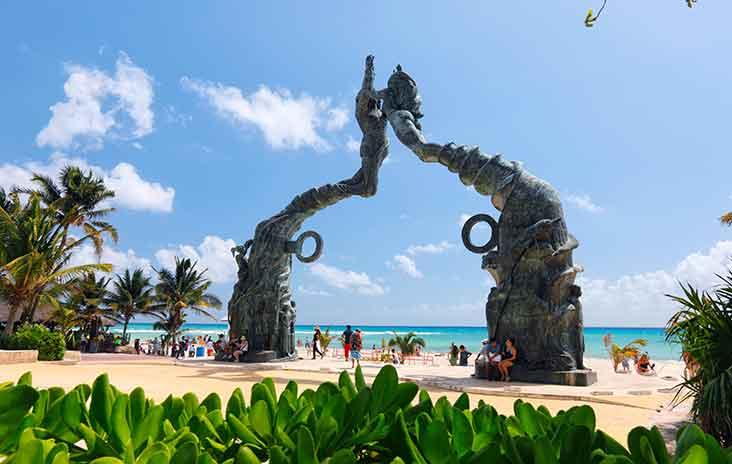 The Portal Maya sculpture in Parque Fundadores, Playa del Carmen, Mexico