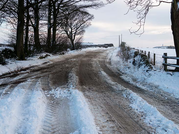 Snowy farm track