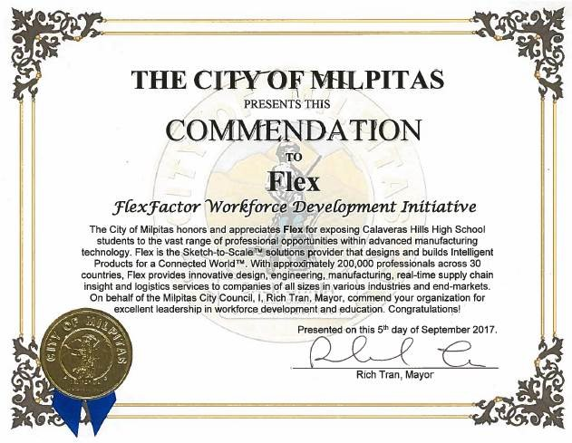 The City of Milpitas, CA present Flex with a workforce development initiative commendation.