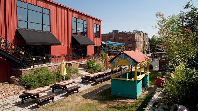 Castleberry Hill No Mas courtyard in Atlanta GA