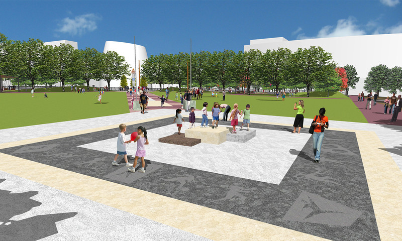 An interactive podium plaza is being added to Centennial Olympic Park.