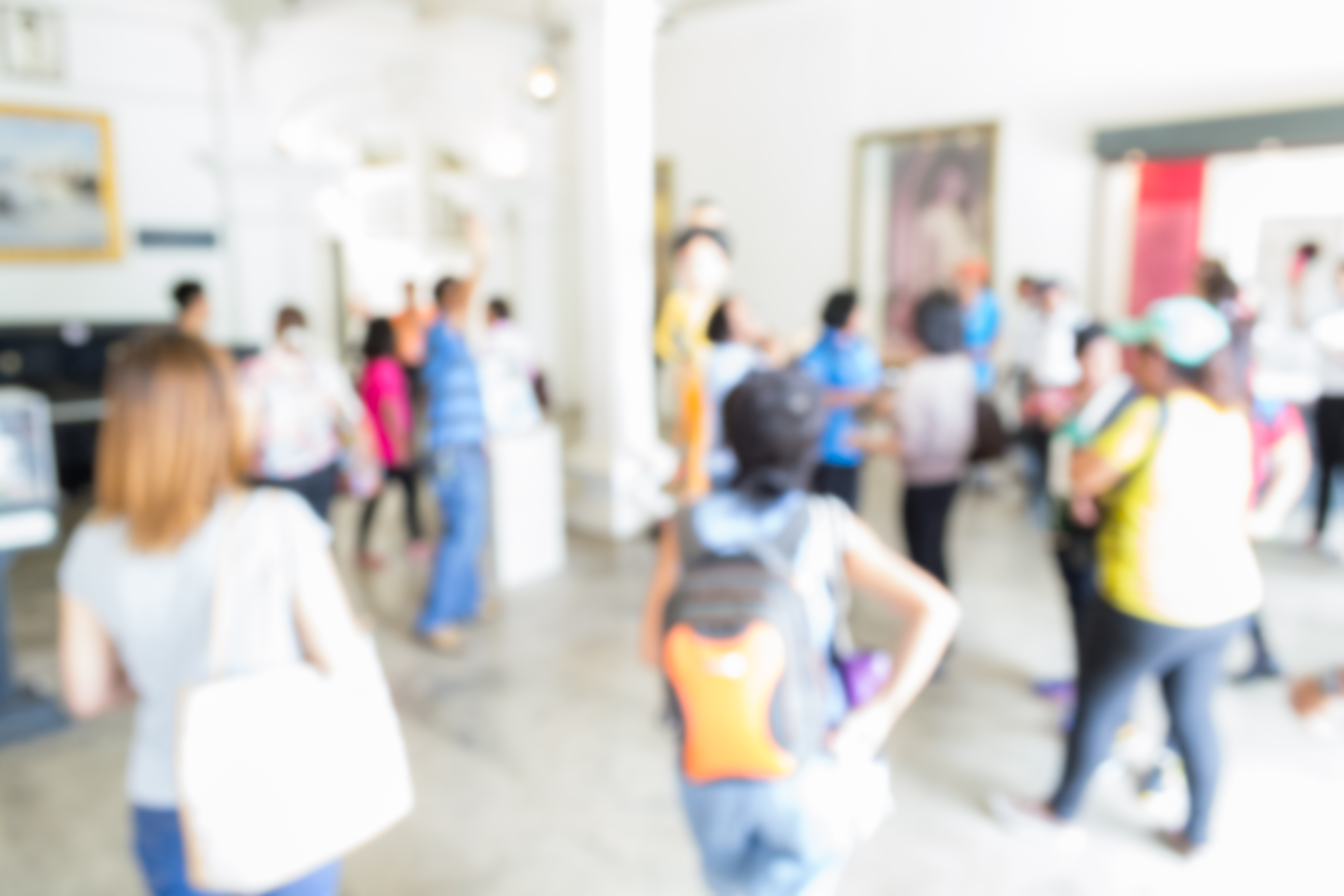 Blurred tourist walking in the museum