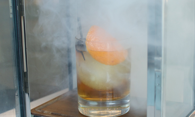 The smoked rye old-fashioned, served in Le Meridien Hotel Perimeter's Portico, is smoking cool.