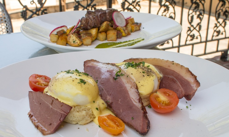 Enjoy lovely and hearty dishes on Portofino's patio at brunch.