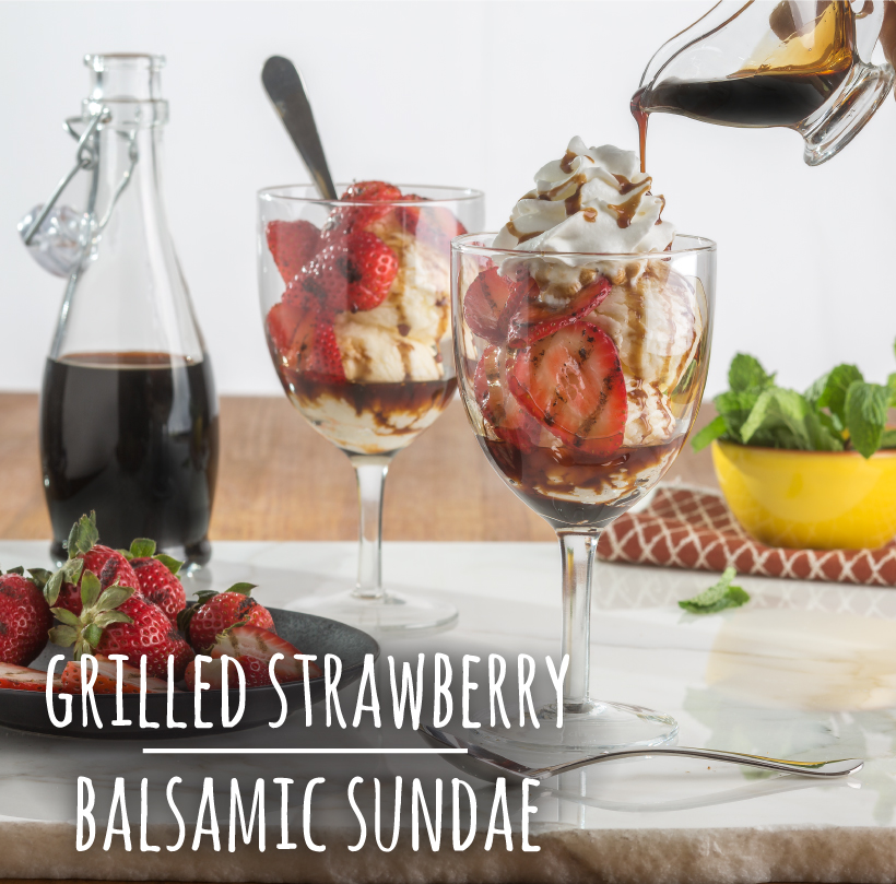 Grilled Strawberry and Balsamic Sundae