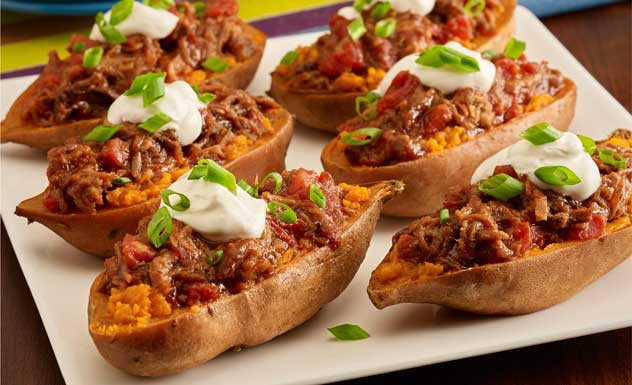 BBQ Pork Stuffed Sweet Potatoes