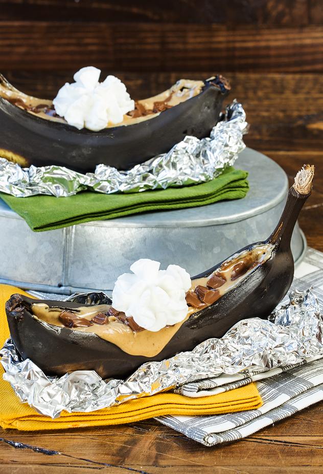 Baked Peanut Butter Banana Boats Recipe