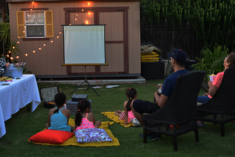 Backyard Movie Night with the Family