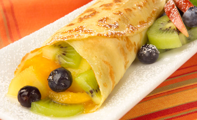 Image result for Crêpes with a bowl of tropical fruits